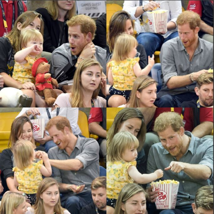 During the Invictus Games 2017, adorable two-year-old Emily Henson couldn't resist getting her hands on Prince Harry's popcorn. Once the British royal realized he had a little food thief, he playfully kept Hayley and British Paralympian Dave Henson's little girl occupied throughout the seated volleyball match.  