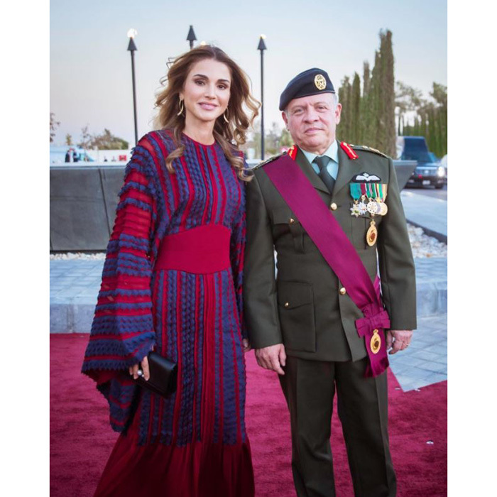 Queen Rania's dress coordinated with her husband King Abdullah II for the annual Flag Parade at the Royal Hashemite Court. 