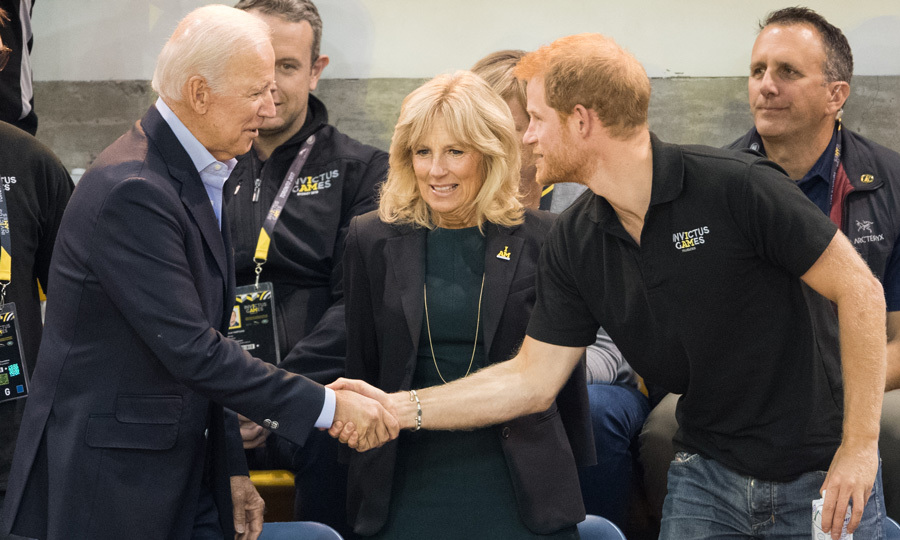 Prince Harry was joined by former Vice President Joe Biden and his wife Jill to watch the final basketball game.