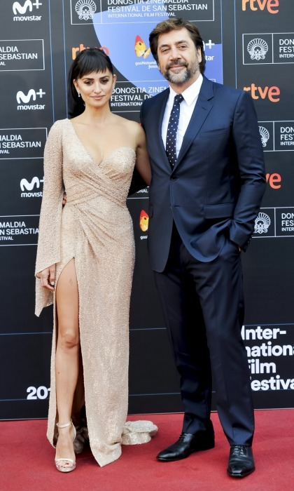 Penelope Cruz, in Atelier Versace, and Javier Bardem made for a stunning couple as they walked the carpet at the <i>Loving Pablo</i> photocall during the 65th San Sebastian Film Festival on September 30 in San Sebastian, Spain.