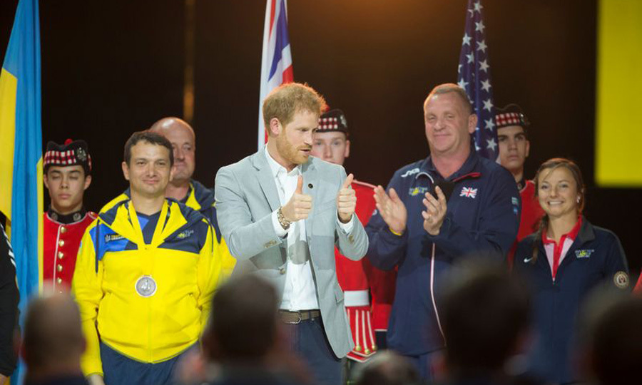 Prince Harry honored athletes from the participating countries at the closing ceremony.