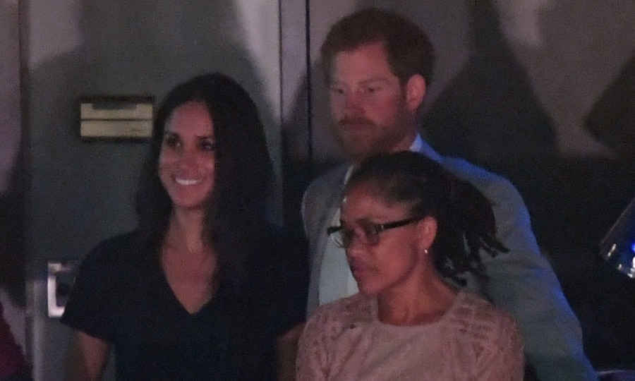As the curtain fell on the Invictus Games Toronto, Prince Harry watched some of the closing ceremony with girlfriend Meghan Markle and her mom Doria. 