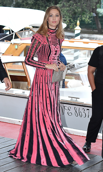 In September 2017, Monaco royal Beatrice Borromeo attended the Venice Film Festival in a fabulous pink striped outfit by Valentino. 