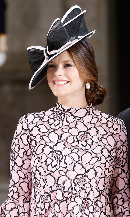 A pregnant Princess Sofia of Sweden was in full bloom in black and powder pink florals! The occasion was a June 2017 thanksgiving service in honor of sister-in-law Crown Princess Victoria of Sweden's 40th birthday celebrations at the Royal Palace.