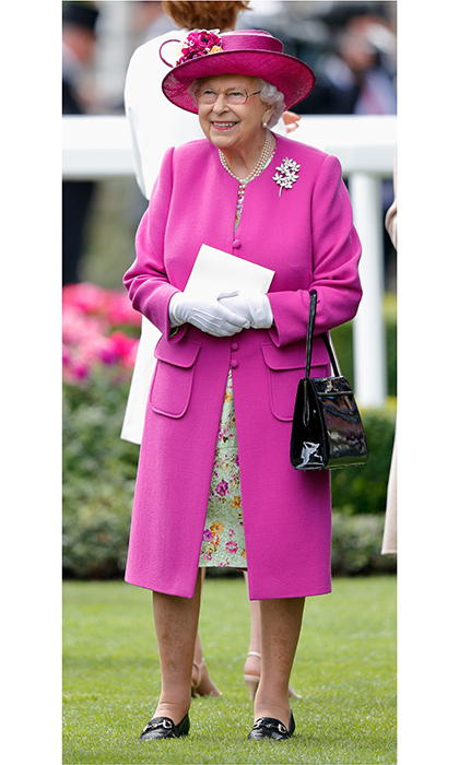 Queen Elizabeth chose one of her favorite colors for Day 5 of Royal Ascot in June 2017.