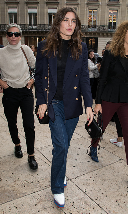 Yes, Charlotte did denim at Paris Fashion Week during the Spring/Summer 2018 collections. The royal is rocking head to toe Stella McCartney for the designer's fashion show at Opera de Paris.