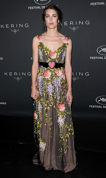 A dark yet delicate floral Gucci gown, with sweet heart-shaped belt buckle at the waist, at the Kering Women in Motion Awards in May 2017.