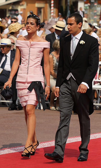 Charlotte, accompanied by then-boyfriend Alex Dellal, wore sweet pink Chanel to uncle Prince Albert's 2011 wedding at the Prince's Palace in Monaco.
