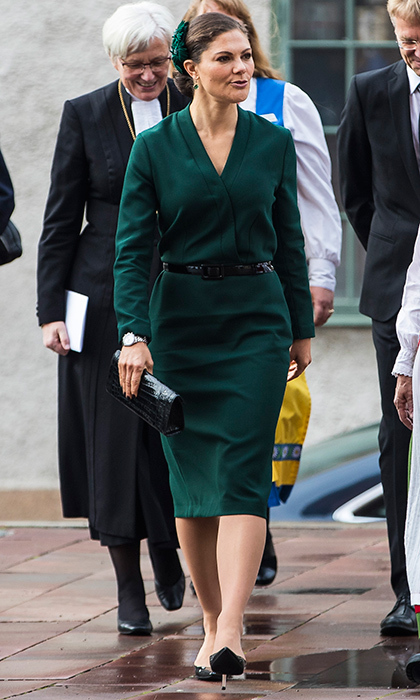 A royal style regular, Sweden's future queen Crown Princess Victoria was all business as she attended the opening of the Swedish Church meetings at Uppsala Cathedral. The mother of two donned a forest green dress and carried a black clutch for the October 3 event. 