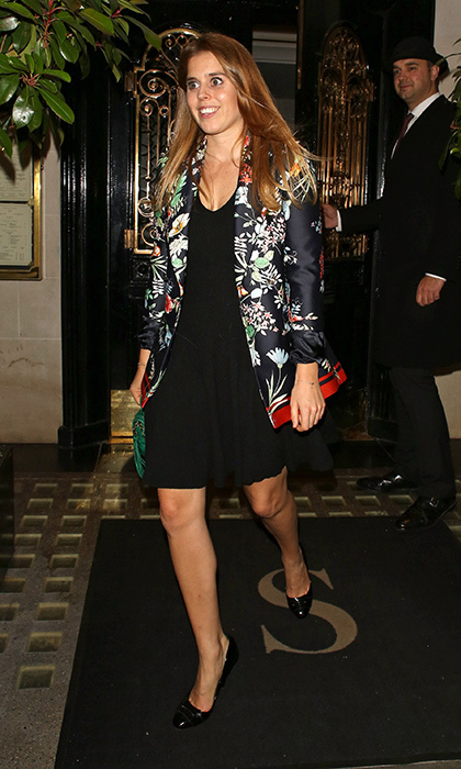 Princess Beatrice of York stepped out in style in a little black dress and kimono-style jacket. The 29-year-old British royal, whose mom is Sarah, Duchess of York, was photographed leaving Scotts restaurant in London's trendy Mayfair on October 2.