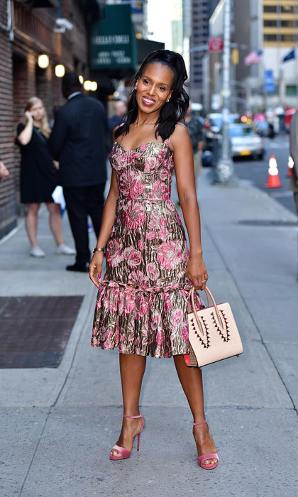 Floral perfection! Kerry Washington was all smiles and waves as she showed off her street style in a Dolce & Gabbana floral print dress before her appearance on the Late Show with Stephen Colbert at Ed Sullivan Theater in NYC on October 4.