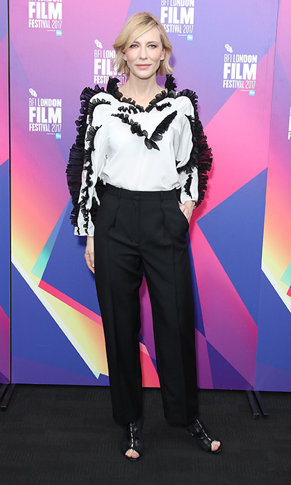 Cate Blanchett stepped out in London wearing a black and white ensemble by Givenchy. The actress was attending the LFF Connects: Julian Rosefeldt & Cate Blanchett event at the 61st BFI London Film Festival on October 6.