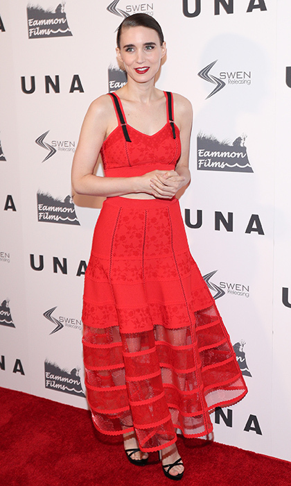 Rooney Mara channeled a bit of 1980s Madonna chic in a red lingerie-inspired look by Alexander McQueen at the New York VIP Screening of <I>UNA</I> at Landmark Sunshine Cinema on October 4 in New York City. 