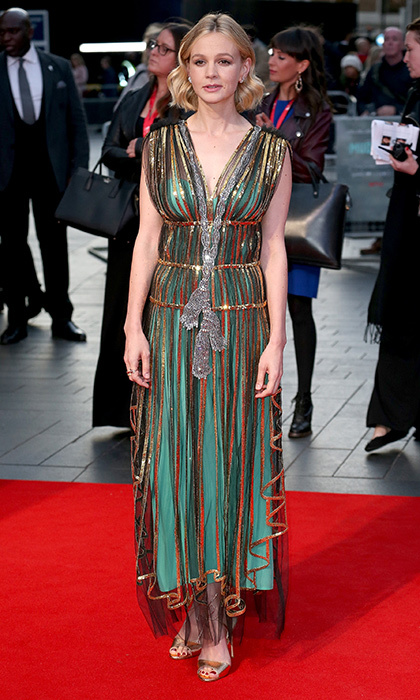 New mom Carey Mulligan looked fab in a Gucci goddess gown at the European premiere of <I>Mudbound</I> at Odeon Leicester Square during the 61st BFI London Film Festival on October 5. 