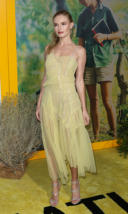 Kate Bosworth wore a floaty yellow design by Preen by Thornton Bregazzi to the premiere of National Geographic Documentary Films' <I>Jane</I> at California's Hollywood Bowl on October 9.