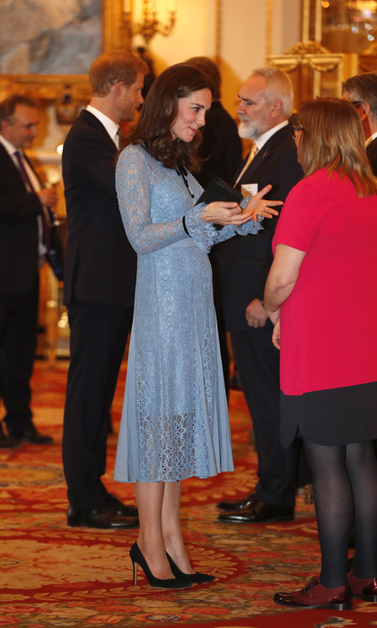 On October 10, 2017, after remaining out of the public eye for more than a month due to severe morning sickness, a pregnant Duchess of Cambridge reappeared looking ladylike and chic in a creation by Temperley London at a charity reception for the Heads Together mental health campaign at Buckingham Palace. 