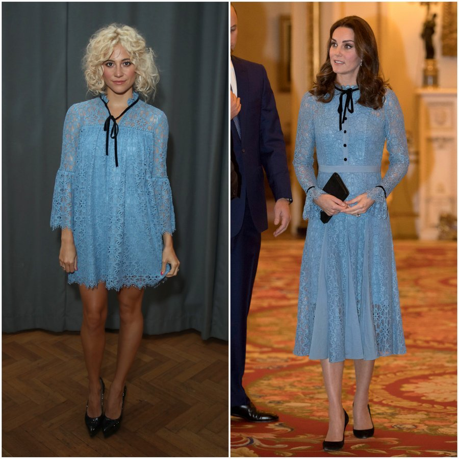 The Duchess of Cambridge and British singer Pixie Lott appear to have very similar taste when it comes to fashion! On October 10, Kate made her first appearance since the news of her third pregnancy wearing a gorgeous blue lace dress from Temperley. But if you thought that her design was rather familiar, you would be correct. A month earlier,  Pixie wore a minidress version of the iris lace design at Temperley's London Fashion Week show.