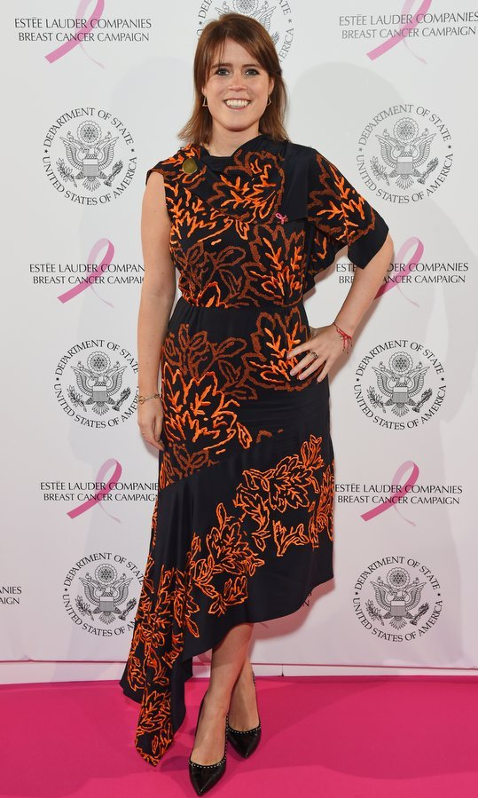 Princess Eugenie of York was all about fall in a one-shouldered asymmetrical dress in autumn hues. The British royal was attending the the 25th Anniversary of the Estee Lauder Companies UK's Breast Cancer Campaign at the US Ambassador's Residence, Winfield House, in London.
