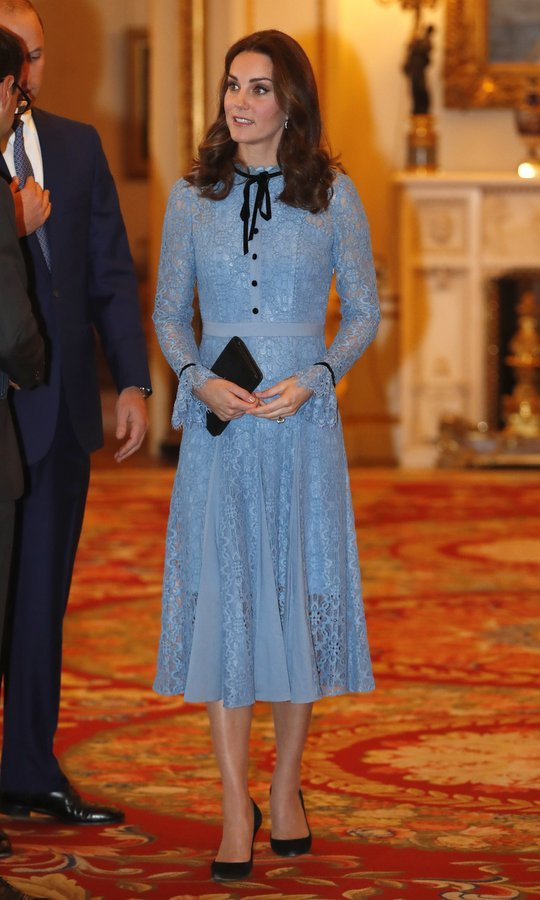 "On October 10, pregnant Duchess of Cambridge reappeared looking ladylike and chic in a creation by Temperley London at a charity reception for the Heads Together mental health campaign at Buckingham Palace. Described as ""a modern take on the lace dress underpinned by the season's Elizabethan influence"", the iris-hued 'Eclipse Lace Collar Dress' retails for $1,095.