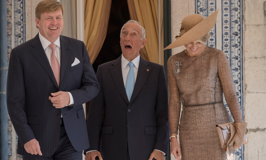 Maxima and Willem-Alexander shared a laugh with Portuguese President Marcelo Rebelo de Sausa. The trio took a walk around the Belem Palace located in Lisbon. The Dutch King and Queen were personally invited to tour the country by the leader.