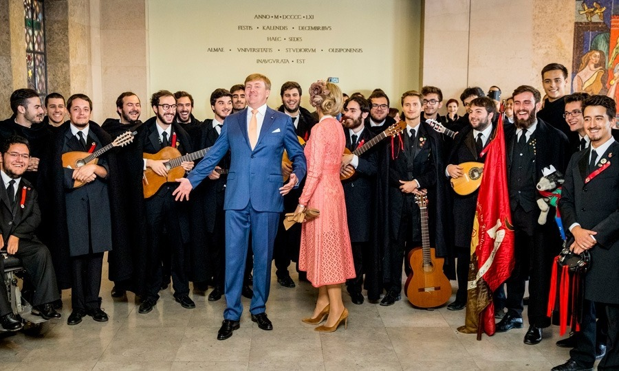 Let the music play! Willem-Alexander was a dancing king as he showed off his moves with the band during his and Maxima's visit to the University of Lisbon. While there, the duo met with students and discussed the challenges facing the European Union.