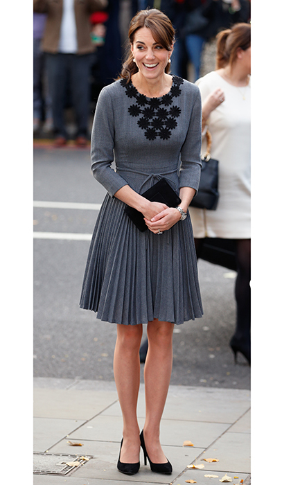 The Duchess recycled a favorite grey Orla Kiely dress for a London engagement in 2015.