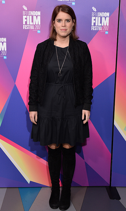 Princess Eugenie also showed she's a fan of the ever-chic fall LBD, with an all-black look from her jacket to her over-the-knee boots. Sarah Ferguson's daughter was checking out the European premiere of <I>Jane</I> during the 61st BFI London Film Festival at Picturehouse Central.
