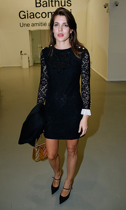 Princess Grace's granddaughter Charlotte Casiraghi was a classic beauty in a lace-sleeved LBD with contrasting white cuffs as she stepped out for the 'Societe des Amis du Musee d'Art Moderne' dinner on October 17 in Paris. Also timeless – those cute pointy-toed Mary Jane heels.