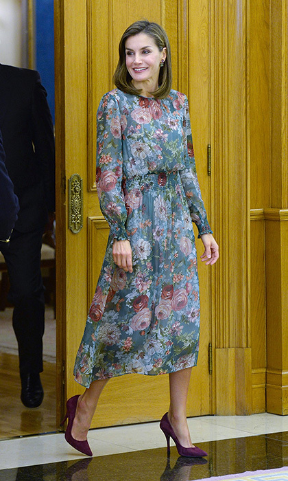 Just like us, Queen Letizia of Spain loves Zara! She wore an $89.90 floral midi dress from the fashionable brand to attend an audience at Zarzuela Palace in Madrid. 