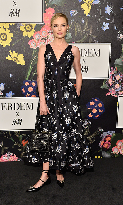 Marking a collaboration between one of the world's most popular brands and a luxury fashion favorite of the Duchess of Cambridge, Erdem x H&M held its launch on October 18 in Los Angeles. Kate Bosworth was elegant in a midi dress featuring the Canadian designer's trademark florals at the party and catwalk show, held at the Ebell Club. 