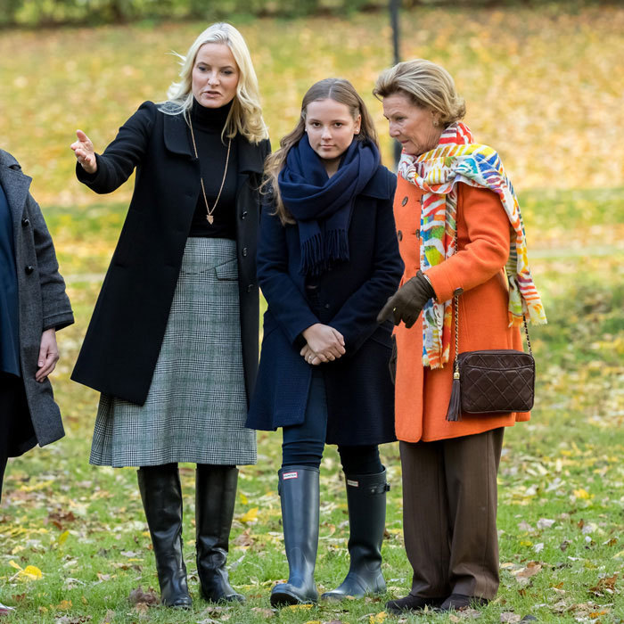 Crown Princess Mette-Marit and Crown Prince Haakon's daughter Princess Ingrid Alexandra of Norway looked all grown up during a rare public engagement on Thursday. The 13-year-old, who is second in line to the Norwegian throne, was joined by her mother and paternal grandmother Queen Sonja for the unveiling of two new sculptures at her namesake sculpture park in Oslo.