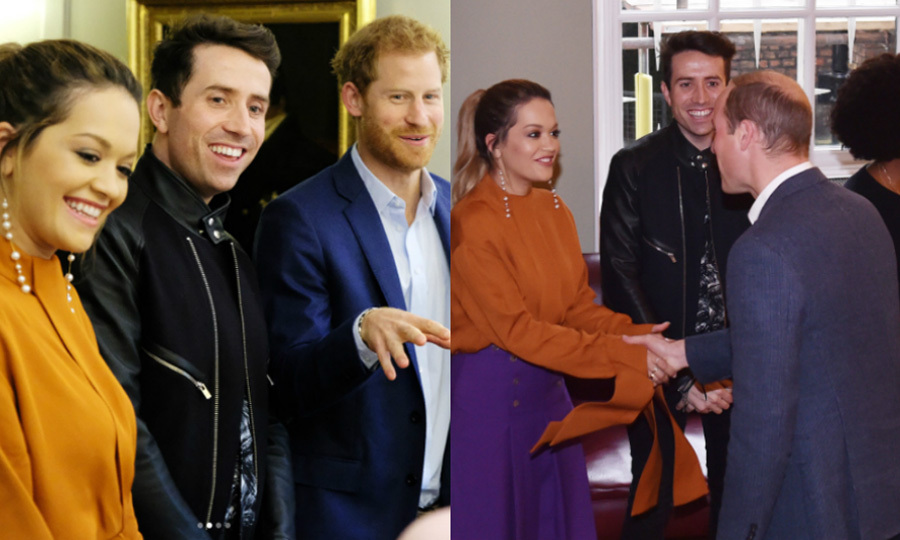 Rita Ora spent her afternoon with both Prince Harry and Prince William at Kensington Palace. She, TV host Nick Grimshaw and the brothers met with the four finalists who will all receive the Teen Hero Award at the BBC Radio's Teen Awards on October 22.