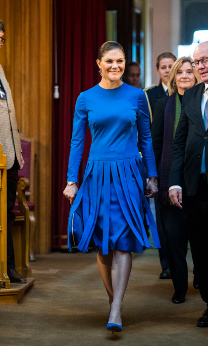 Crown Princess Victoria was wearing blue – but she wasn't feeling it – while attending a seminar at Riksdag in connection with the centenary of Finnish Independence on October 18 in Stockholm.