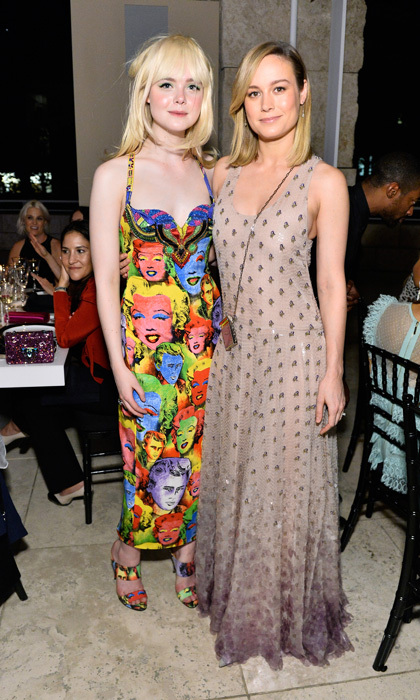 Elle Fanning paid homage head-to-toe to Marilyn Monroe in a Versace dress alongside Brie Larson, who chose a nude Valentino dress, for the InStyle Awards.