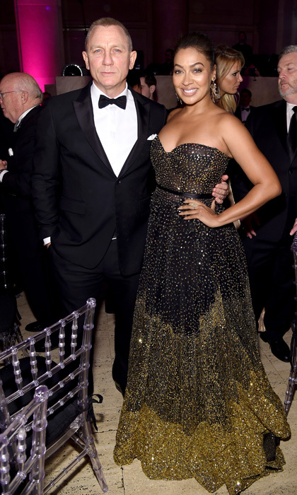 Lala Anthony dazzled in a Rani Zakhem gown next to Daniel Craig at the 2017 Gabrielle's Angel Foundation's Angel Ball in NYC. The evening raised close to $4 million for cancer research.