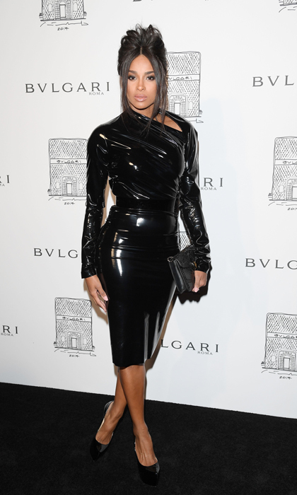 Ciara slipped into a A.F. Vandevorst Couture dress and black Louboutin pumps for the Bulgari store re-opening on October 20. The mom-of-two had her hair styled in an updo by Cesar Ramirez and makeup done smokey by Yolonda Frederick for the night out.