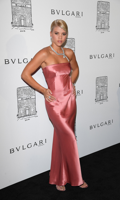 Sofia Richie paired her strapless Giorgio Armani pink satin gown with a Bulgari statement necklace for the high-end brand's store re-opening in NYC.