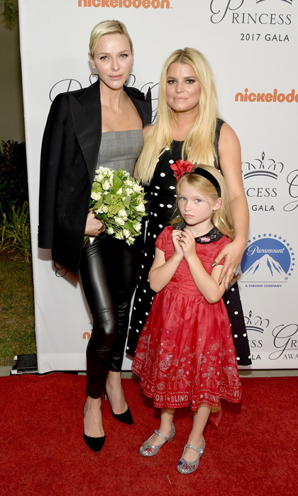 Jessica Simpson's five-year-old daughter Maxwell Johnson presented flowers to Princess Charlene of Monaco upon the royal's arrival to a Paramount Pictures' event on October 24 celebrating the return of the annual Princess Grace Awards Gala to Los Angeles.