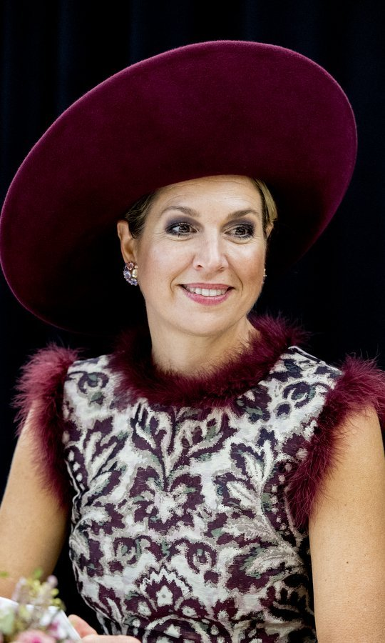 Queen Maxima of the Netherlands never lets us down with her unique style! Here she is wearing a dress with wine-colored feather trim and a matching hat as she visited the city of Amersfoort on October 24.
