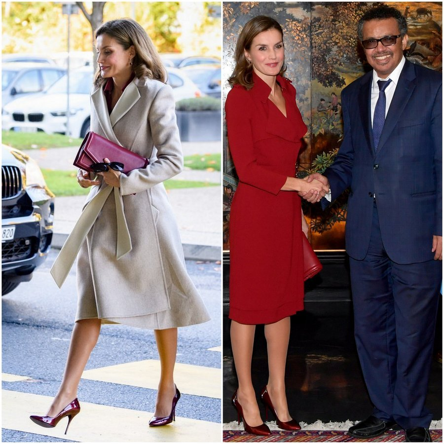 Queen Letizia of Spain served up major workwear inspo as she attended a meeting at the World Heath Organization's headquarters in Geneva on October 24. The royal wore a chic wrap coat with burgundy Reliquiae clutch and Lodi patent leather heels as she arrived. Once inside she shed her coat to reveal a Burberry trench dress that she'd worn during her UK visit earlier this year.
