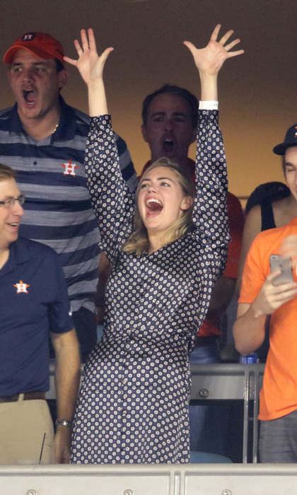Kate Upton had reason to celebrate as her fiance Justin Verlander and his team the Houston Astros beat the Dodgers 7-6 during game two of the series. The Sports Illustrated model sat in a VIP box with family and friends as she watched closely.