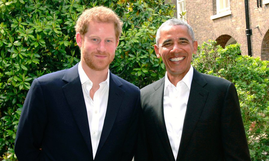 <B>MAY 2017</B>: Just in the neighborhood! The former president stopped by to say hello to his good friend Prince Harry at Kensington Palace on May 27. 