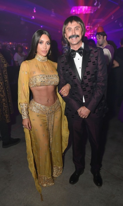 "Sonny and Cher! Kim Kardashian and her best friend, Jonathan Cheban, transformed into the famous duo for the Casamigo's annual bash. The 37-year-old Keeping Up With the Kardashians proved to be a dead ringer for Cher, wearing a custom-made costume that replicated the music icon's look from the 1973 Academy Awards. ""Cher definitely has a better body,"" Kim said to fans on her live Periscope. ""Her stomach… I don't think anyone could compare.""