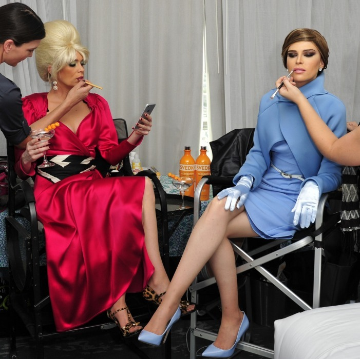 "Sisters Sara and Erin Foster looked almost unrecognizable as they dressed up as Melania and Ivana Trump at Beauty and Essex Los Angeles for a Halloween-inspired Svedka brand shoot. The model and her comedy writer sis got very much into their characters, pretending to ""feud"" over the first lady title. 