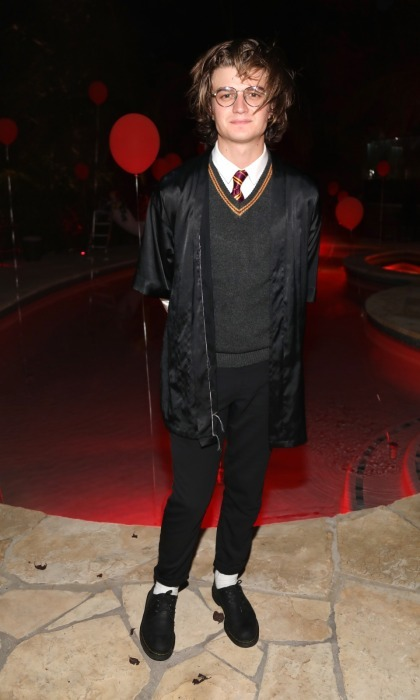 <i>Stranger Things</i> star Joe Keery was a lowkey looking Harry Potter at the Just Jared Halloween party. The 25-year-old actor certainly looked the part with his makeshift Hogwarts uniform, circle-rimmed glasses and a lightening bolt scar. He was also celebrating the premiere of his Netflix series's second season that night.