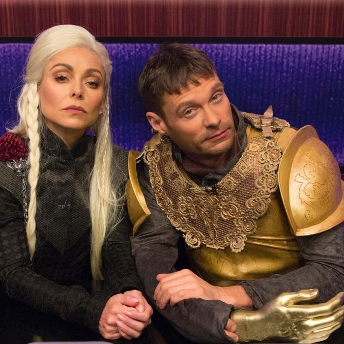 "More GOT! Kelly Ripa does not disappoint on her show when it comes to Halloween costumes. It seems for 2017 the <i>Live With Kelly and Ryan</i> host teamed up with her new co-star Ryan Seacrest to channel Daenerys Targaryen and Jaime Lannister from Game of Thrones. ""Halloween is coming. #kellyandryan #LIVEHalloween #GOT,"" Ryan wrote along with the photo on his Instagram page. The fun look was just one of the 70 costumes the pair wore throughout the episode taping. 