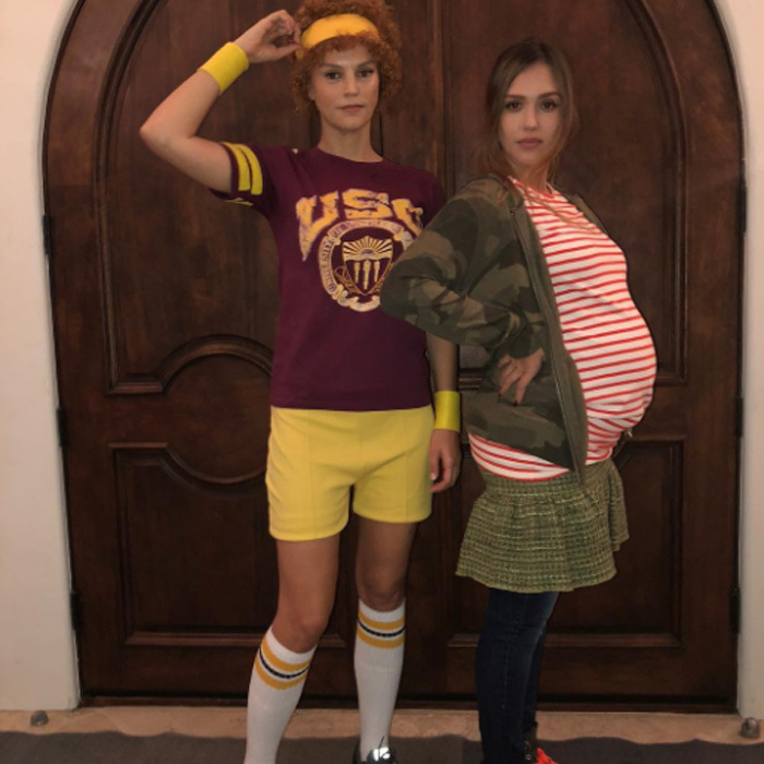Jessica Alba transformed into the pregnant teenage mom Juno, the character made famous by Ellen Page in the hit 2007 film, at Kelly Rowland's star-studded Halloween party on Sunday evening. 
