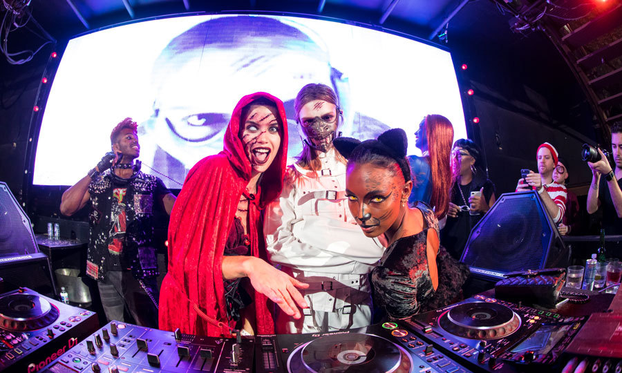 Sara Sampaio, Jasmine Tookes and Josephine Skriver allowed DJ Ruckus to take a break from manning the turntables during Marquee New York and Velocity Black Night of the Fallen at the club.
