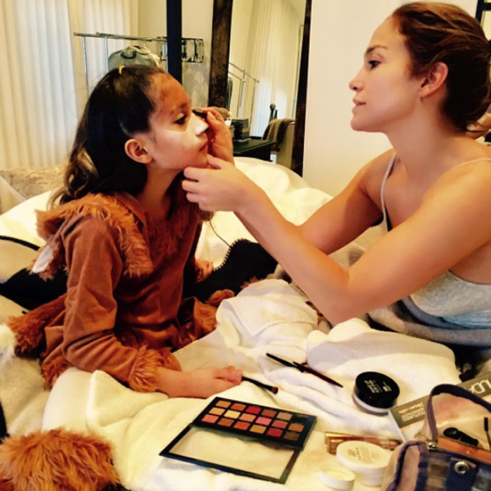 "Jennifer Lopez put her glam skills to the test to turn her nine-year-old daughter Emme into a fox for Halloween. The <i>Shades of Blue</i> actress wrote on Instagram, ""Mamá makeup duties...#happyhalloween""