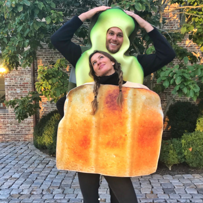 Forget peanut butter and jelly, Gisele Bundchen and Tom Brady were the perfect avocado toast. The couple, who generally eats clean and avoids carbs, couldn't resist adding some bread in their life as they took their kids trick-or-treating.